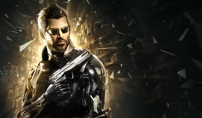 Deus Ex character surrounded by shattered glass, holding a gun.
