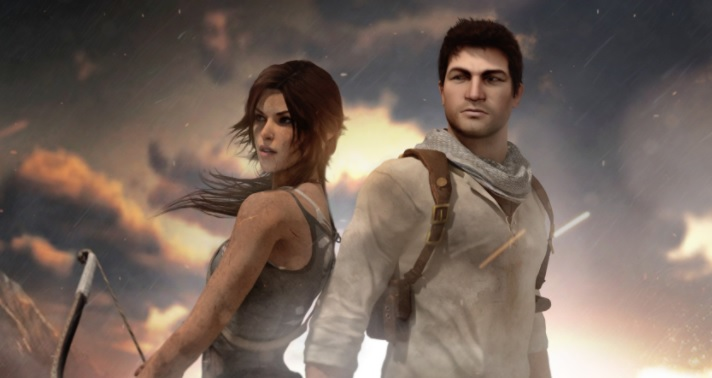 Lara Croft and Drake standing back to back.