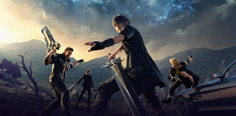 The Final Fantasy 15 main characters with their weapons.