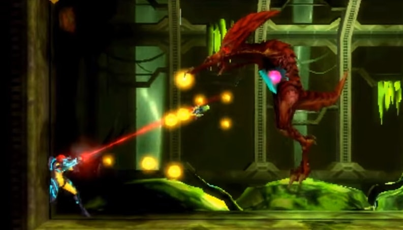 Samus from Metroid shooting a red monster.