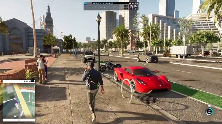 Watch Dogs 2 showing a person walking down the street past a red car in a city.