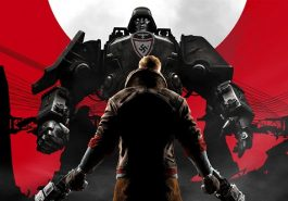 A man preparing to fight a large robotic enemy in front of a white moon on a red background.