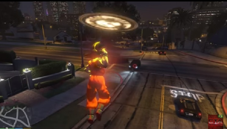 Goku wearing orange floating above the road using a power.