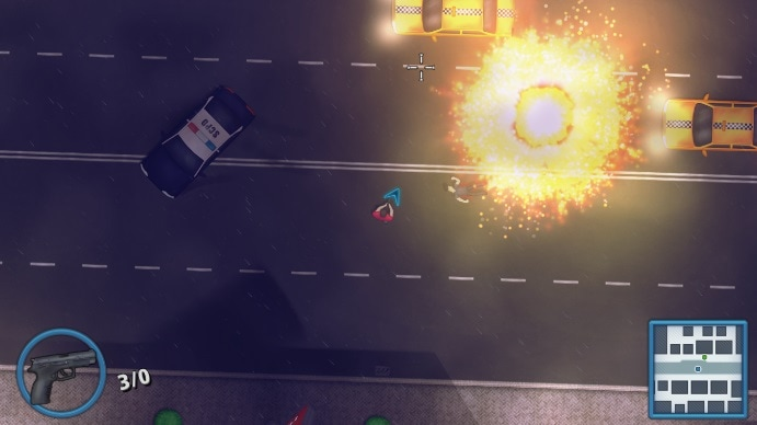 Riskers showing a top down view of an explosion on a road with a police car and two taxis.