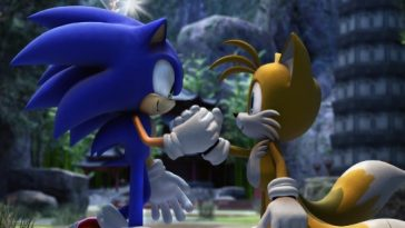 Sonic the Hedgehog and Tails shaking hands as friends.