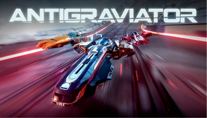 Three futuristic flying racing cars called Gravs flying through the air in Antigraviator