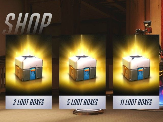 3 virtual loot boxes that can be purchased for real money.