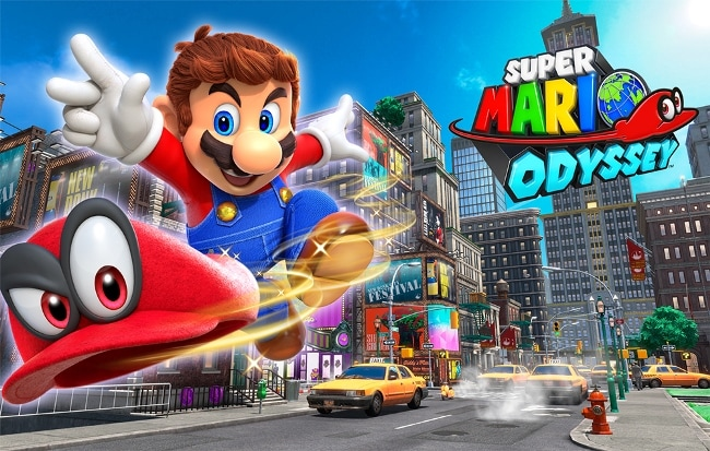 Super Mario Odyssey showing Mario chasing his hat through a city with yellow taxis.