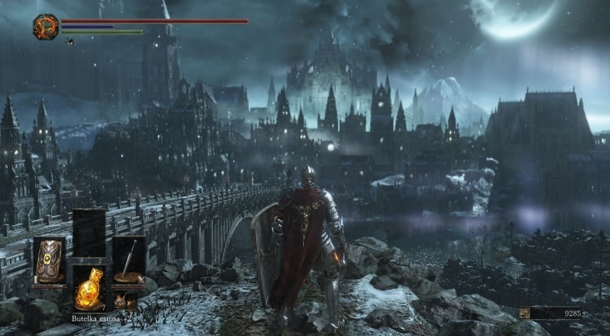 Dark Souls 3, showing a character looking out over a gothic landscape.
