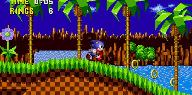 Sonic running forward.