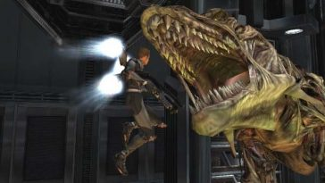 Dino Crisis Game showing a man wearing a jetpack jumping into a dinosaurs mouth