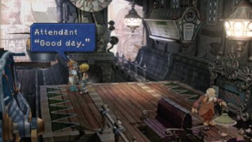 Final Fantasy 9 on the PlayStation, showing Cloud on a wooden platform.