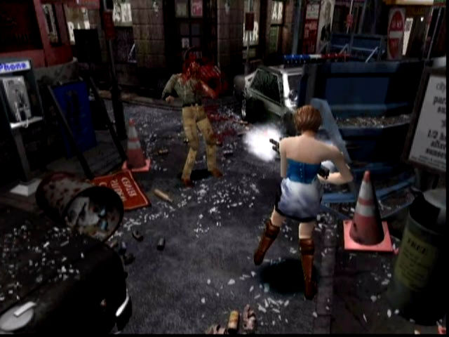 Resident Evil 3 Nemesis showing a woman shooting a zombie in a street.