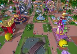 Rollercoaster Tycoon showing a theme park.