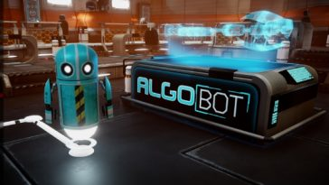 Algo Bot showing a robot by the Algobot logo.
