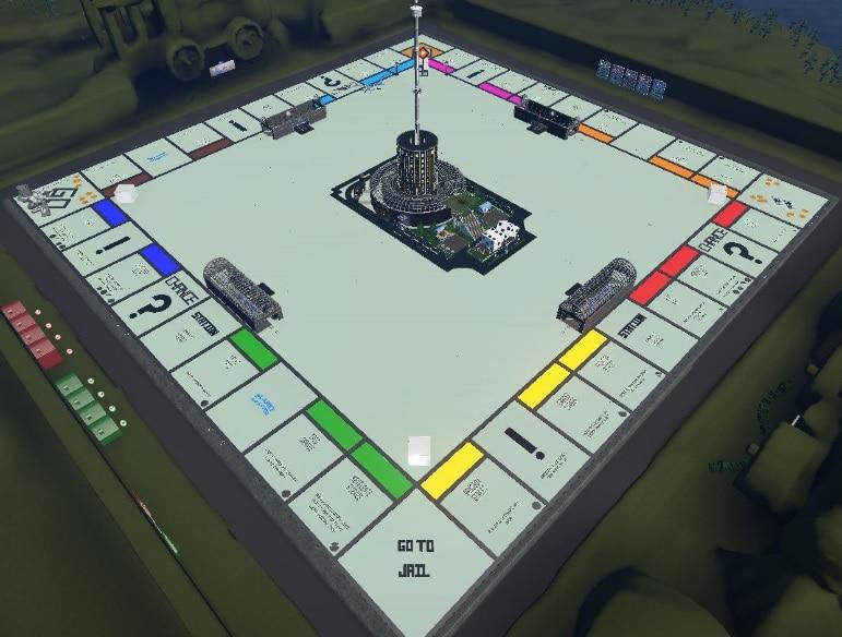A Monopoly board designed in Planet Coaster.