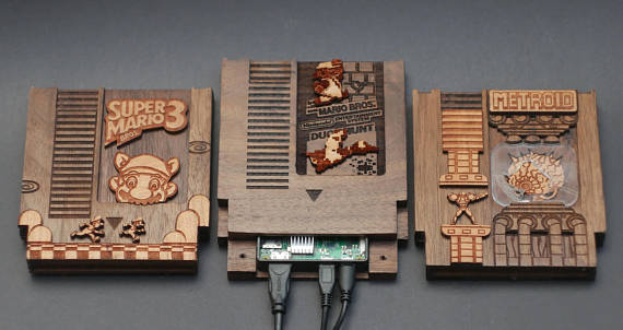Wooden NES video game cartridges.