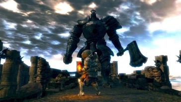 Dark Souls Remastered screenshot showing a man preparing to fight a giant with an axe.