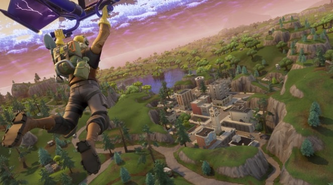 A man parachuting into a city in Fortnite.