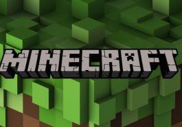 Minecraft logo on a green blocky background.
