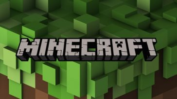 Minecraft logo on a green blocky background.