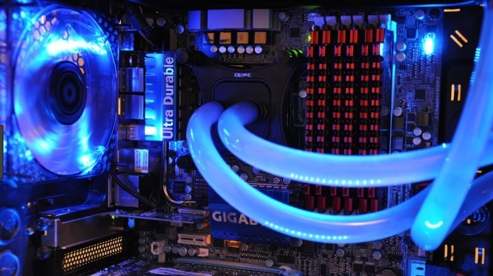 A blue watercooled PC.