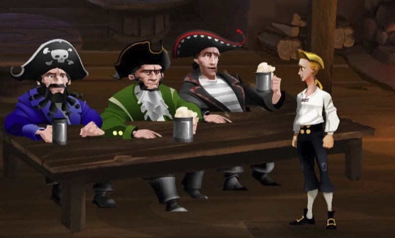 Three pirates sitting at a table drinking beer in The Secret of Monkey Island Special Edition