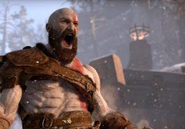 Kratos shouting wearing a grey leather sash.