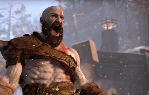 Kratos shouting wearing a grey leather sash.