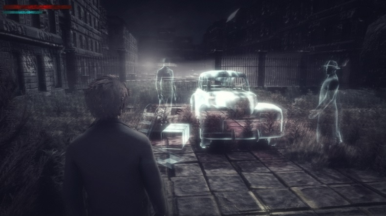 A man looking at a ghostly car and two ghosts.