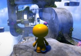 A floating city with a yellow character with a big round head.