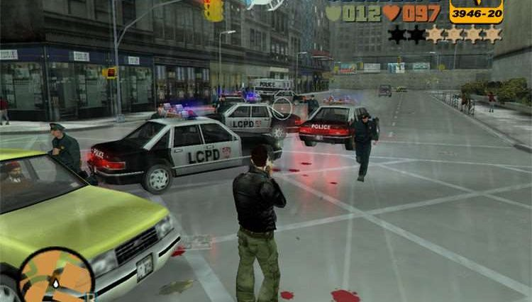 GTA 3 showing Claude in a black leather jacket shooting.