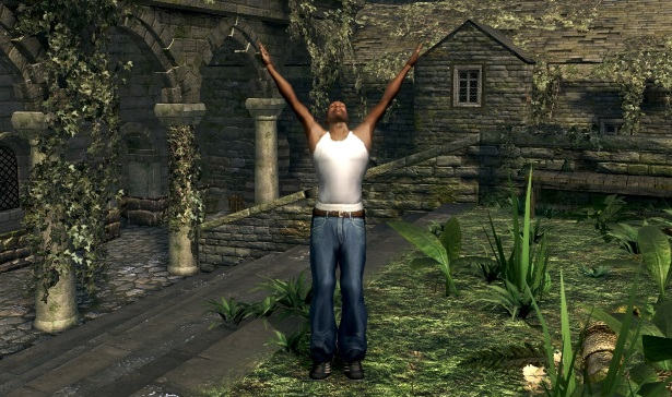 CJ from GTA San Andreas modded into Dark Souls with his arms up.