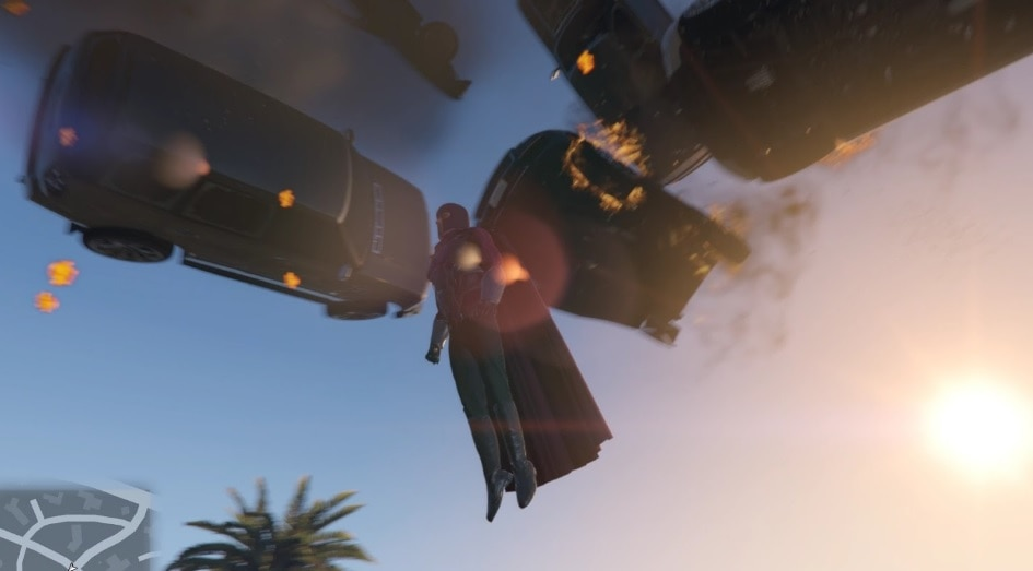 Magneto flying in the air with cars floating above him.