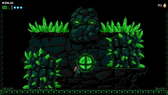 The Messenger game showing a ninja jumping in front of a stone and green stone monster.