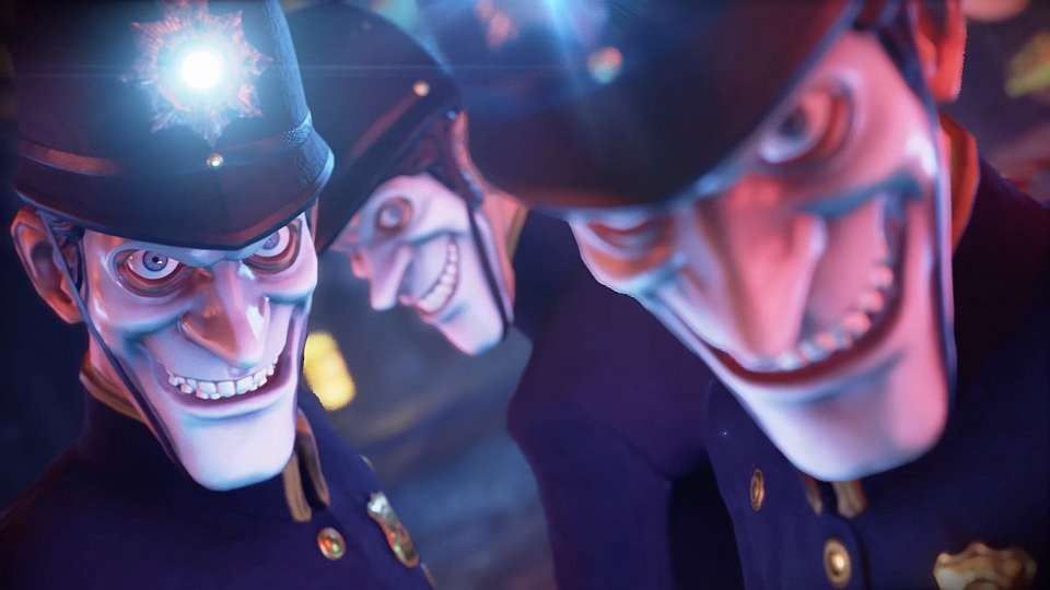 Three police enforcement characters with scary smiley masks in We Happy Few