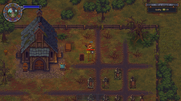 Graveyard Keeper showing a graveyard and house and a man chopping wood.