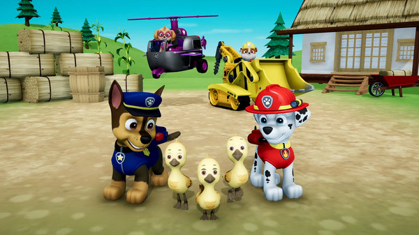 Four dogs and three ducks from the Paw Patrol.