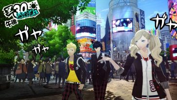 Persona 5 showing a group of kids in a cartoon style standing in a city.
