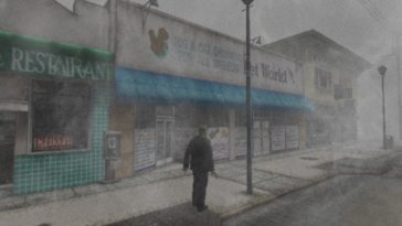 Silent Hill 2 showing a man standing in a foggy street in front of shops.