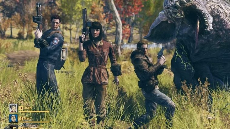 Three people with guns in Fallout 76.