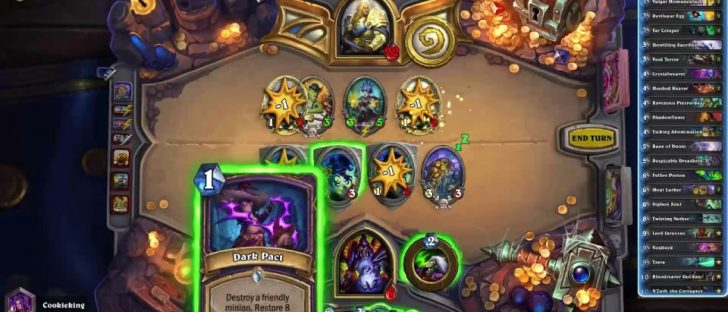 Hearthstone showing trading cards being played in a game.