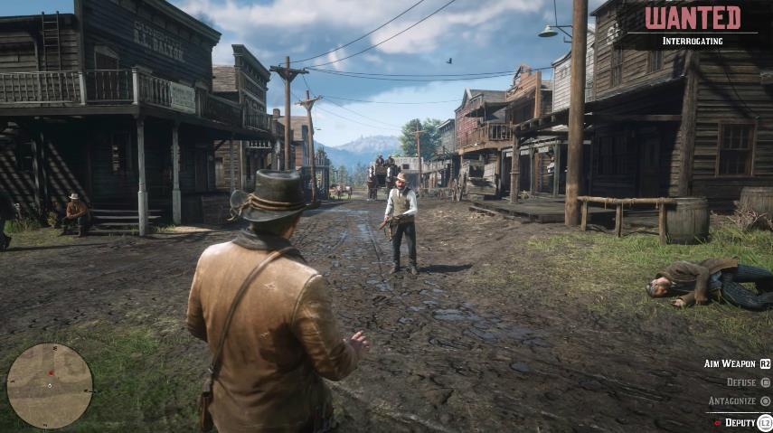 Two cowboys having a shootout in the middle of a Wild West town in Red Dead Redemption 2.