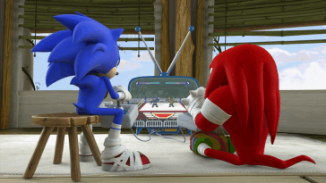 Sonic and Knuckles playing video games as adult gamers.