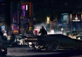 Cyberpunk 2077, showing a person leaning against a car in front of a futuristic city backdrop.