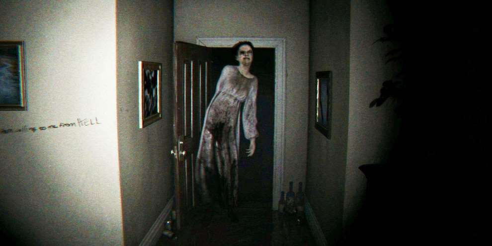 A ghost emerging from a doorway in a house.