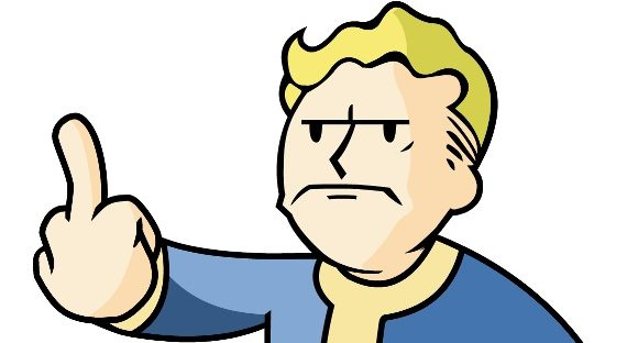 Vault Boy from Fallout looking angry